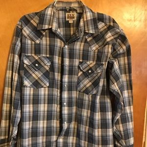 Ely Cattleman Pearl Snap Button Up Large